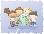 kids holding a globe. grouped and layered for easy editing. more images in this series: