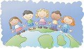 multiethnic kids on top of a globe. layered and grouped for easy editing.