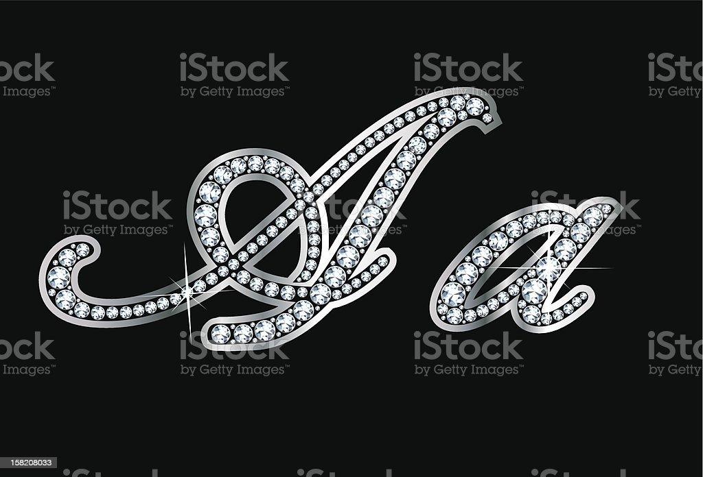 Script Diamond Bling Aa Letters vector art illustration