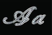Script Diamond Bling Aa Letters