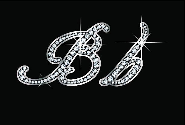 Script Diamond Bling Bb Letters vector art illustration