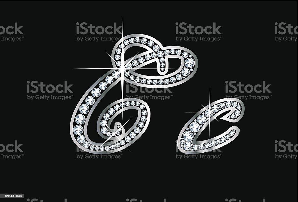 Script Diamond Bling Cc Letters vector art illustration
