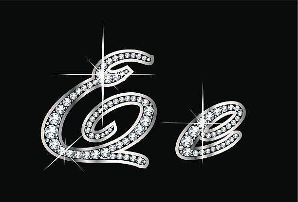 Script Diamond Bling Ee Letters vector art illustration