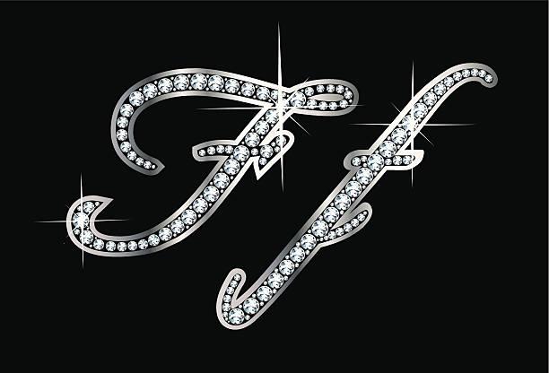 Script Diamond Bling Ff Letters vector art illustration