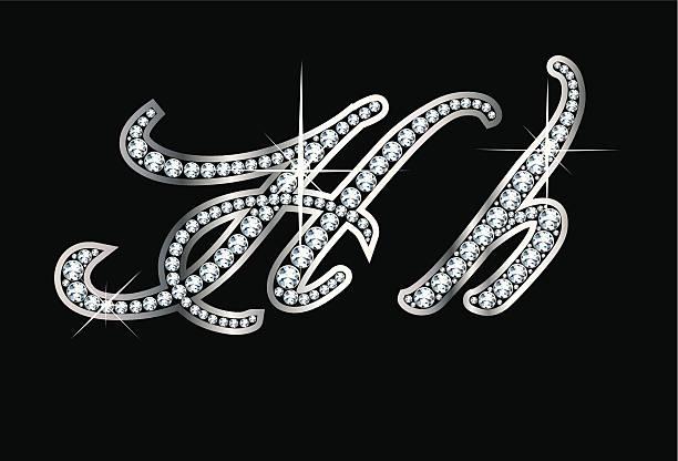 Script Diamond Bling Hh Letters vector art illustration