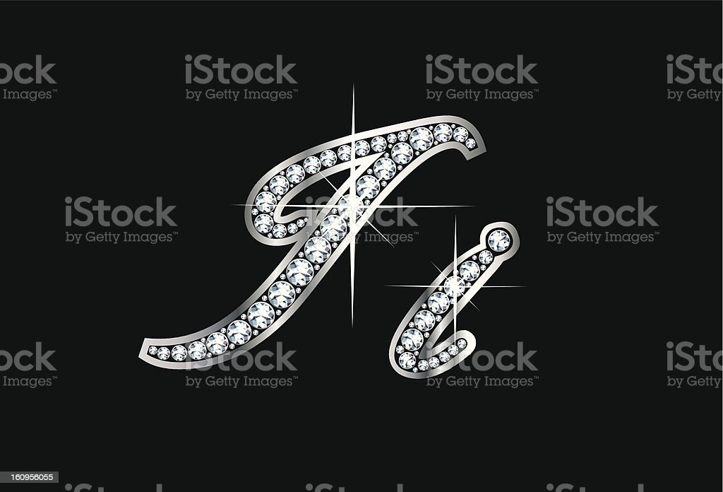 Script Diamond Bling Ii Letters royalty-free stock vector art