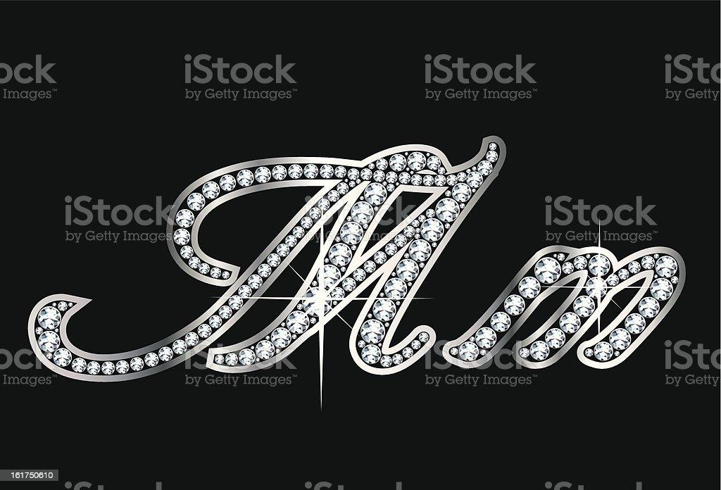 Script Diamond Bling Mm Letters vector art illustration