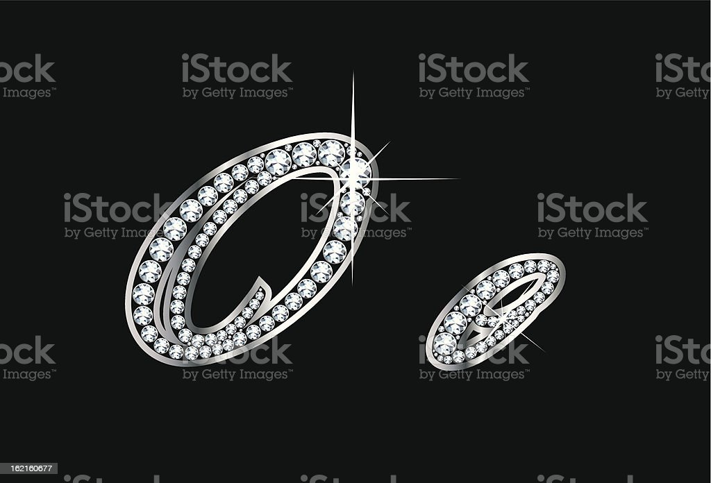 Script Diamond Bling Oo Letters royalty-free stock vector art