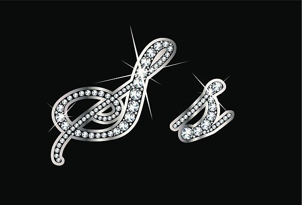 Script Diamond Bling Ss Letters vector art illustration