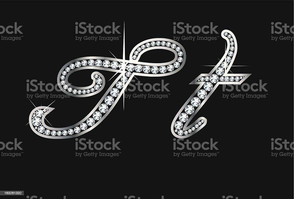 Script Diamond Bling Tt  Letters vector art illustration