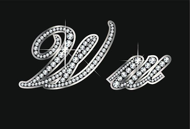 Script Diamond Bling Ww Letters vector art illustration