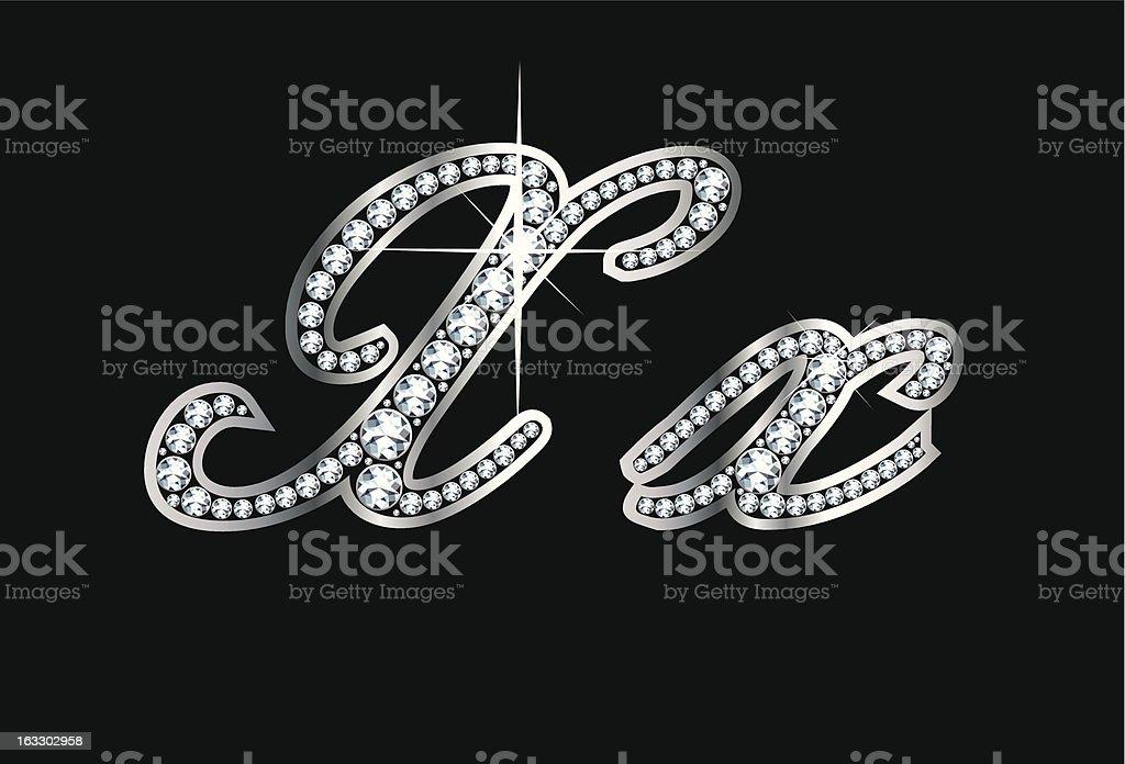 Script Diamond Bling Xx Letters royalty-free stock vector art