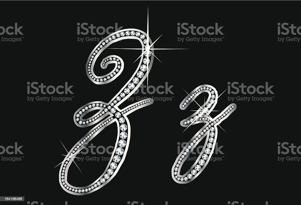 Script Diamond Bling Zz Letters vector art illustration