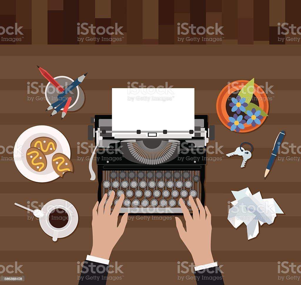 Scriptwriter workplace vector vector art illustration