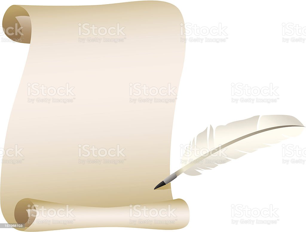 Scroll And Feather Quill Stock Vector Art & More Images of