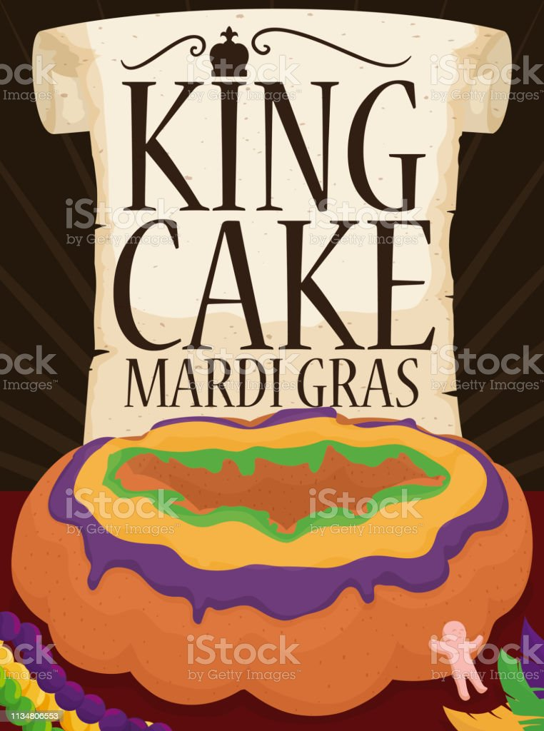 Scroll and King's Cake with Plastic Baby for Mardi Gras - Royalty-free Arte, Cultura e Espetáculo arte vetorial
