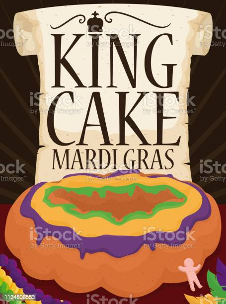 Scroll And Kings Cake With Plastic Baby For Mardi Gras - Arte vetorial de stock e mais imagens de Arte, Cultura e Espetáculo