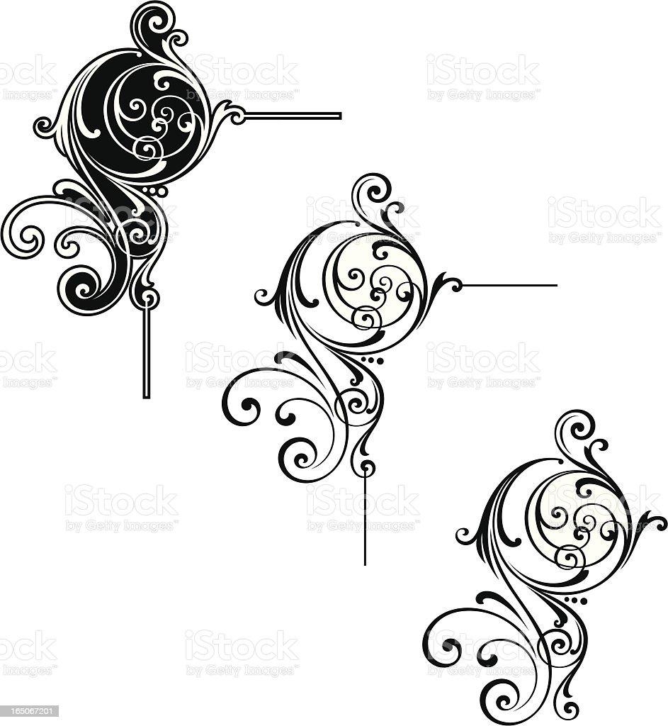 Scroll Corner and Flourish Design vector art illustration
