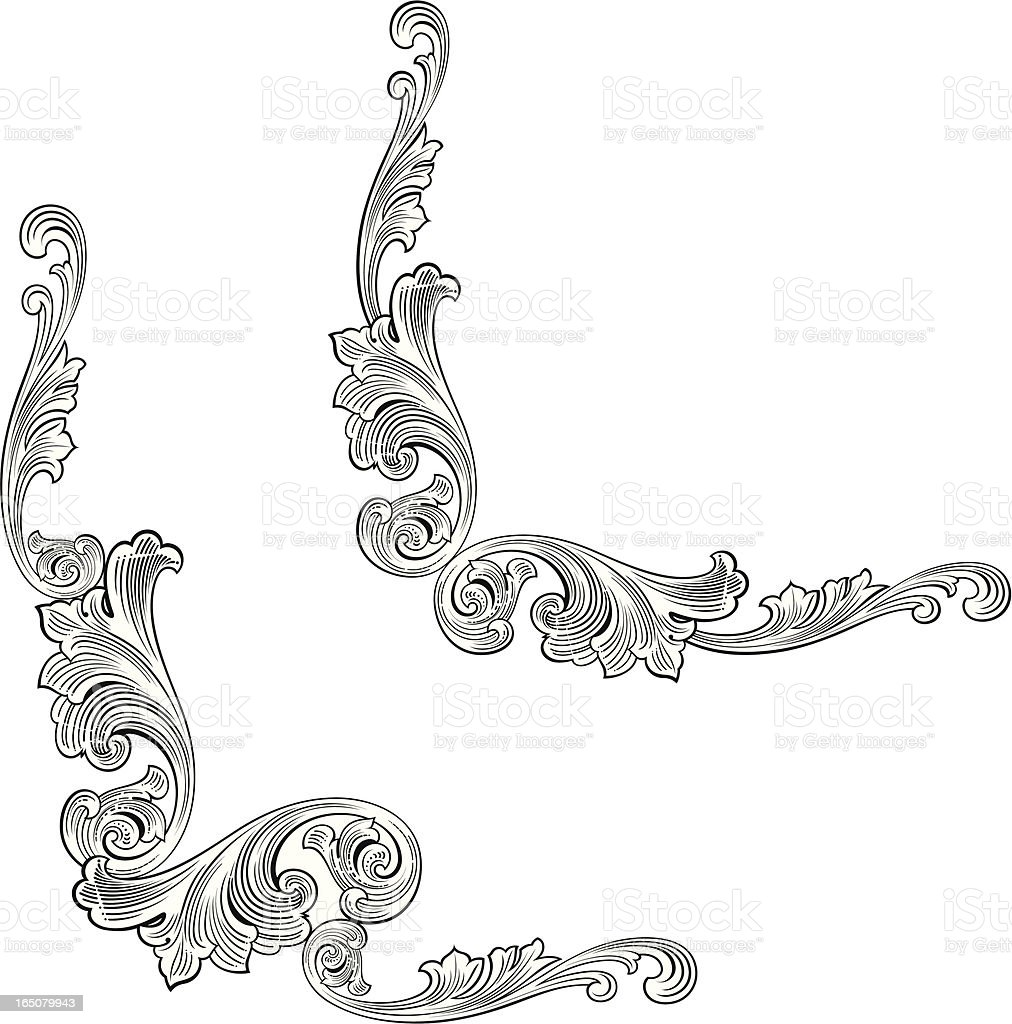 Scroll Corner Flourishes royalty-free stock vector art