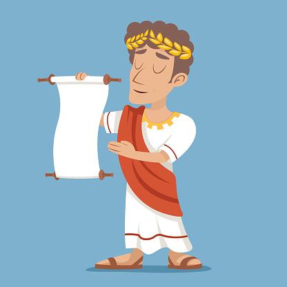 Scroll Declaration Roman Greek Retro Vintage Businessman Cartoon Character Icon
