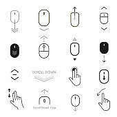 Scroll down and button up icon set. Pointer moves, interface development for users. Vector line art illustration on white background