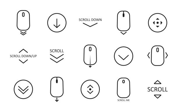 Scroll down icon. Scrolling mouse symbol for web design isolated on white background. Modern vector illustration Scroll down icon. Scrolling mouse symbol for web design isolated on white background. Modern vector illustration. svg stock illustrations