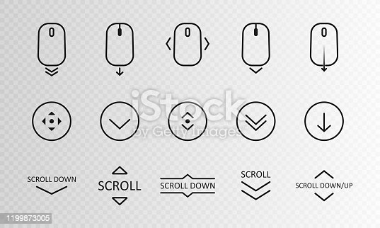 istock Scroll down icon. Scrolling mouse symbol for web design isolated on transparent background. Modern vector illustration 1199873005