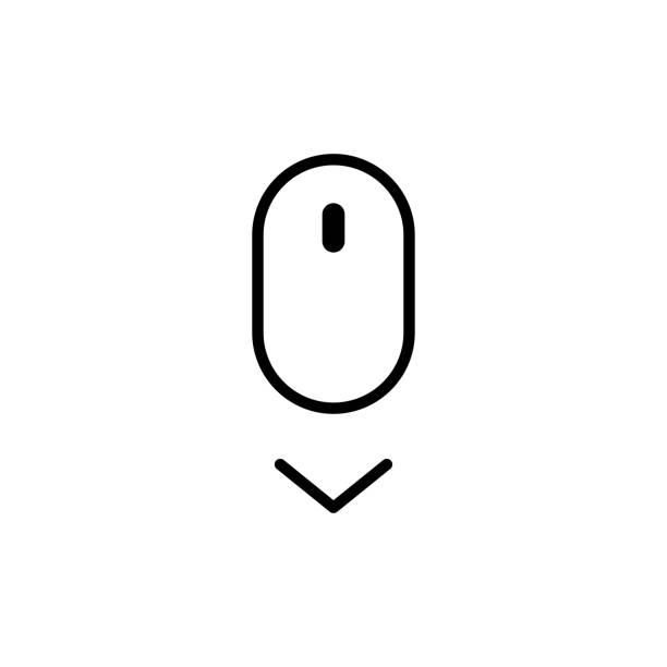 stockillustraties, clipart, cartoons en iconen met scroll naar beneden icoon. vector scrolling symbool voor web design - computermuis