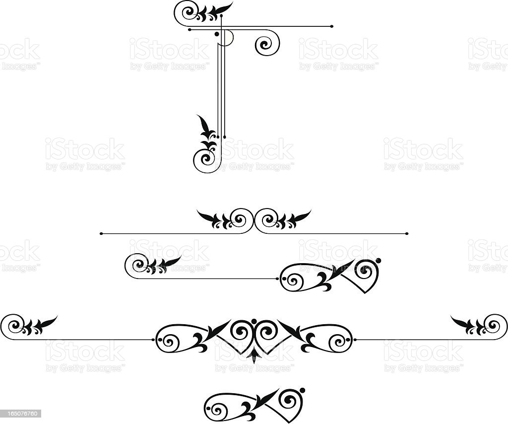 Scroll Elements and Corner Design vector art illustration
