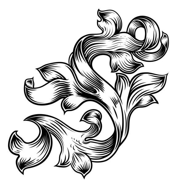 Scroll Floral Filigree Pattern Heraldry Design A filigree floral pattern scroll baroque design gothic style stock illustrations