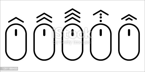 istock scroll mouse icon vector. arrow up down web button. website pc click. page over flat shape. on white background. internet website illustration. 1251188453