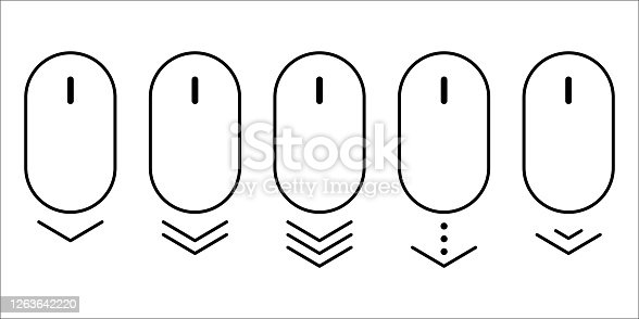 istock scroll mouse icon vector. arrow up down web button. website pc click. page over flat shape. on white background. internet website illustration. 1263642220