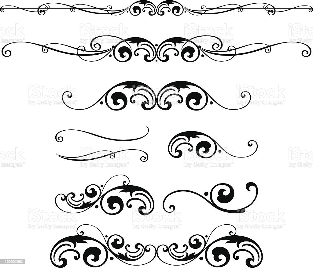 Scroll parts vector art illustration