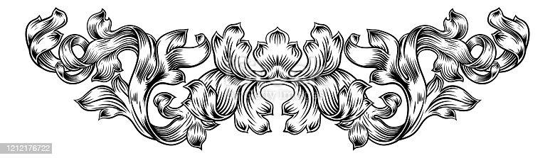 istock Scroll Pattern Laurel Filigree Leaf Baroque Motif 1212176722