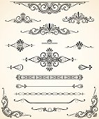 An Vector Illustration of Scroll Set. Dividers, Ornaments and Corners.