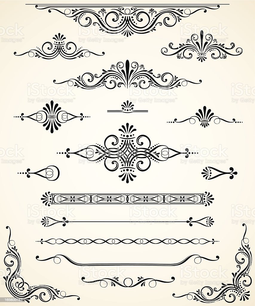 Scroll Set - Dividers, Ornaments and Corners vector art illustration