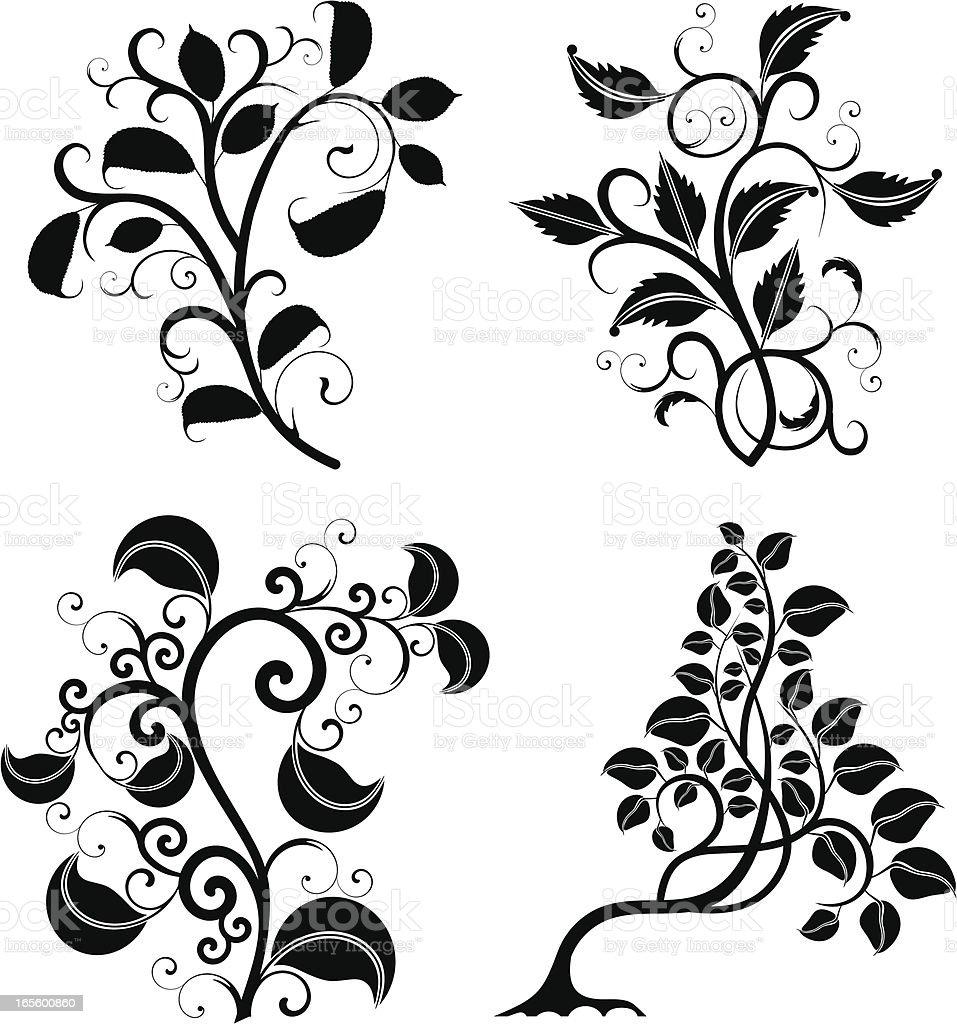 Scroll trees set royalty-free stock vector art