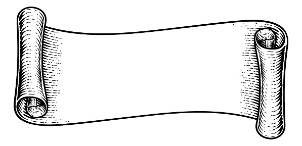 Scroll Vintage Flag Paper Banner Ribbon Woodcut