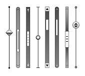 Scrollbars. Website ui rollover bar set, computer design scrolling elements, decorative scrolls templates for web and ux, vector illustration