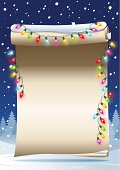 Scrolled and curled paper with christmas lights and snowy landscape background. Multi layered, global colors used.