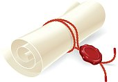 Scroll paper with seal of sealing wax.