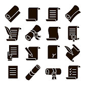 Scrolls and papers vector classic Icons set. Scroll, education diploma with ribbon and documents.