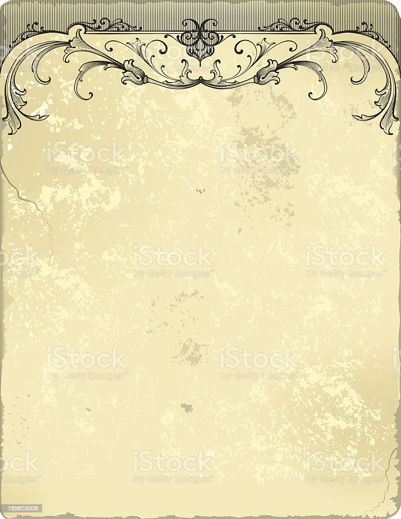 Scrollwork Header on Grunge royalty-free stock vector art