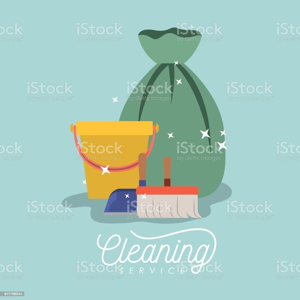 scrub brush and dust pan bucket and garbage bag cleaning service on color background vector art illustration