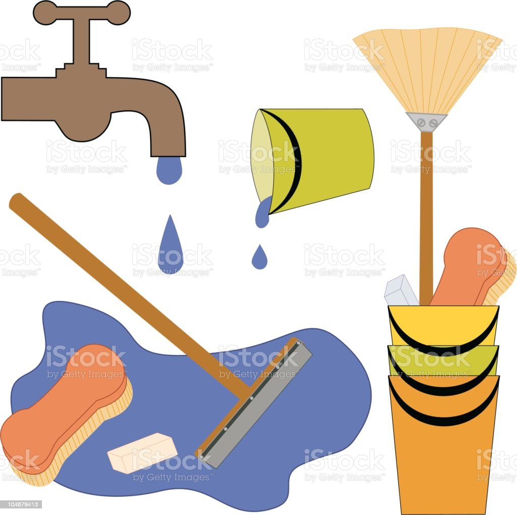 Scrub that floor ... (Vector) royalty-free stock vector art