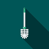 Scrubber Flat Design Cleaning Icon with Side Shadow