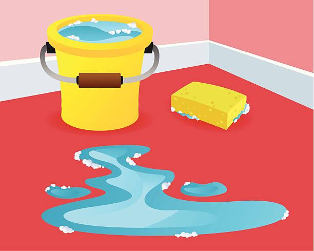 Scrubbing the floor vector art illustration