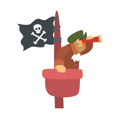 Ilustración De Pirata Desaliñado En Mirador Del Mástil Con La Bandera Pirata Y Espejo Personaje De Dibujos Animados De La Cortargarganta De
