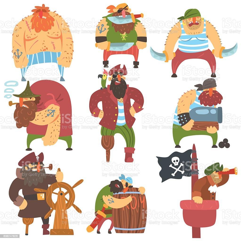 Scruffy Pirates Cartoon Characters Set vector art illustration