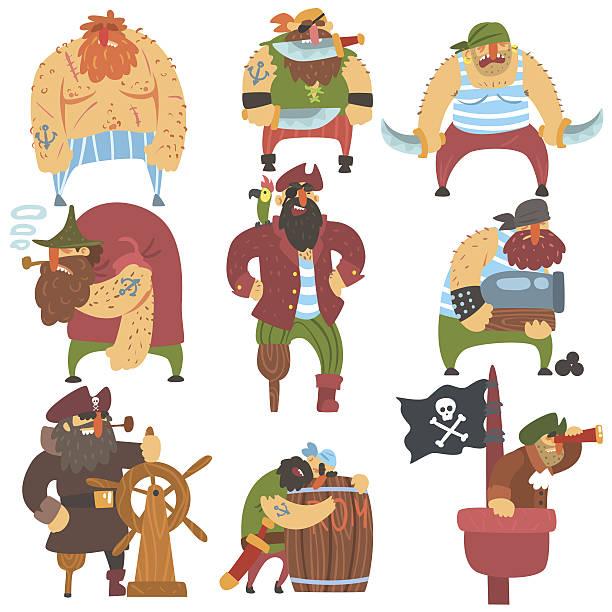 scruffy pirates cartoon characters set - pirates stock illustrations, clip art, cartoons, & icons